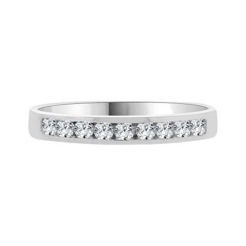 14k White Gold, Dainty Promise Engagement Thin Band Ring Cubic Zirconia (R094-066)