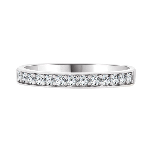 14k White Gold, Dainty Promise Engagement Thin Band Ring Cubic Zirconia (R094-067)
