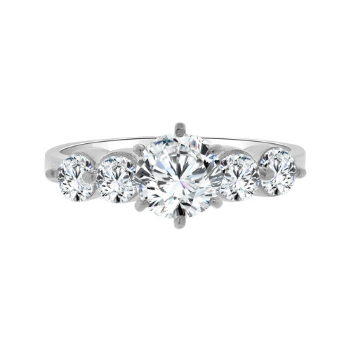 14k White Gold, Lady Engagement Ring Round Cubic Zirconia 6.5mm 1.0ct (R094-072)