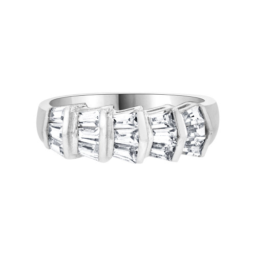 14k White Gold, Fancy Band Ring Baguette Cut Cubic Zirconia (R094-074)
