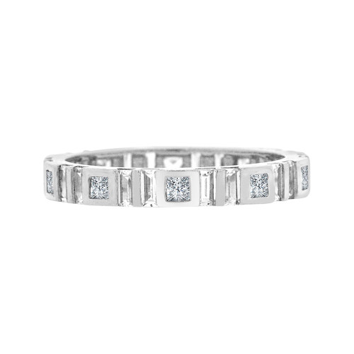 14k White Gold, Fancy Eternity Endless Band Ring Cubic Zirconia Size 8 (R094-076)