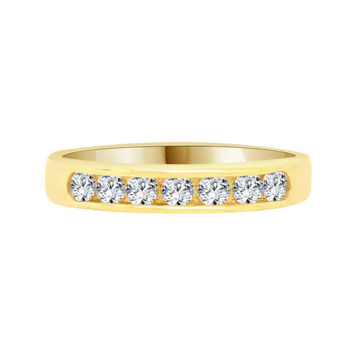 14k Yellow Gold, Simple Band Ring with Round Cubic Zirconia (R095-023)