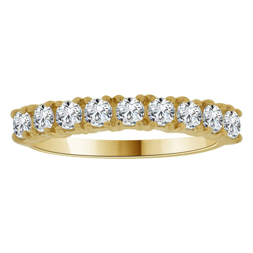 14k Yellow Gold, Dainty Promise Engagement Thin Band Ring Lab Cubic Zirconia (R096-030)