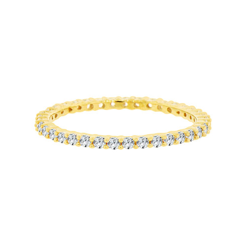 14k Yellow Gold, Eternity Endless Band Ring with Round Cubic Zirconia Size 8 ONLY (R097-018)