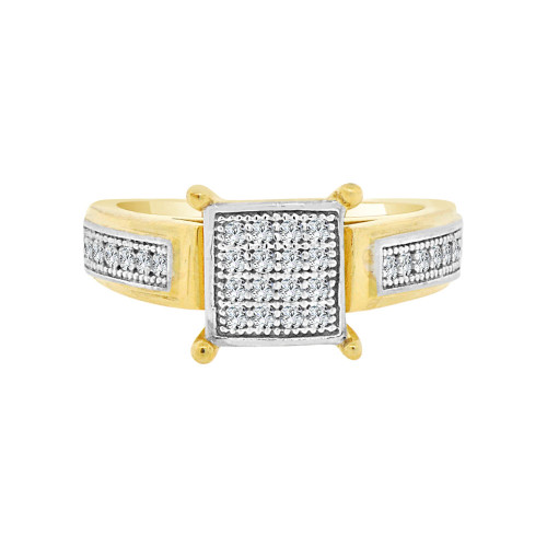 14k Yellow Gold White Rhodium, Modern Fashion Ring with Micro Pave Cluster Set Cubic Zirconia (R097-019)