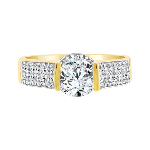 14k Yellow Gold White Rhodium, Fancy Cocktail Style Engagement Ring Round Cubic Zirconia 1.0ct (R097-025)