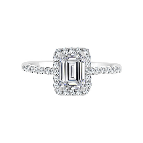 14k White Gold, Lady Engagement Wedding Ring Radiant Center Cubic Zirconia 5mm 1.0ct (R097-056)