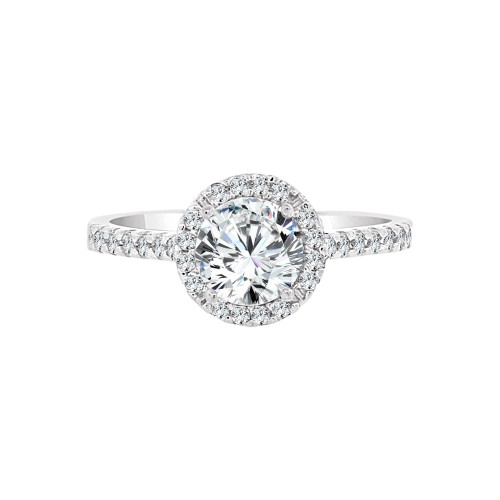 14k White Gold, Lady Engagement Wedding Ring Round Center Cubic Zirconia 6.5mm 1.0ct (R097-057)