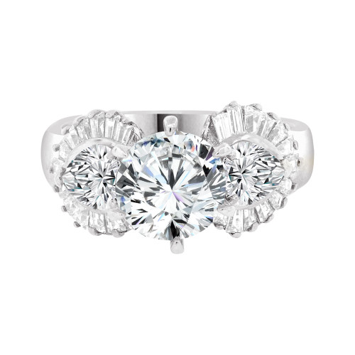 14k White Gold, Lady's Fancy Engagement Anniversary Ring Round Cubic Zirconia 2.0ct (R097-058)