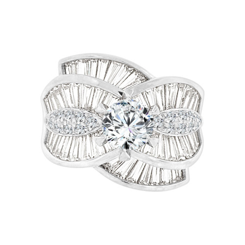 14k White Gold, Fancy Cocktail Style Engagement Ring Round Cubic Zirconia 2.0ct (R097-061)