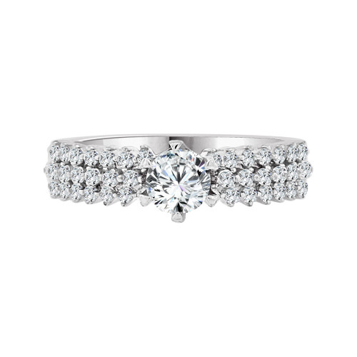 14k White Gold, Modern Style Engagement Anniversary Lady's Ring Cubic Zirconia 0.65ct (R097-063)