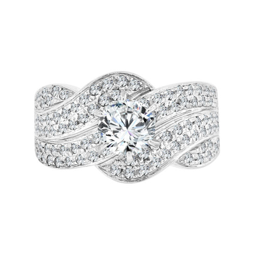 14k White Gold, Modern Style Engagement Anniversary Ring Round Cubic Zirconia 0.65ct (R097-067)