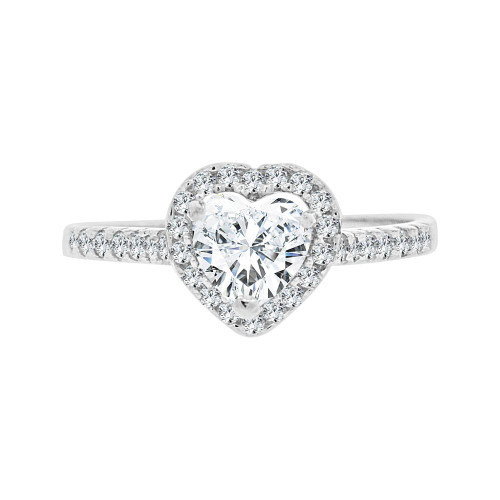 14k White Gold, Lady Engagement Wedding Ring Heart Center Cubic Zirconia 6.5mm 1.0ct (R097-070)