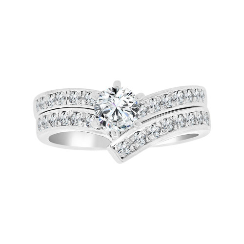 14k White Gold, Lady's Fancy 2 Piece Set Engagement Ring Round Cubic Zirconia 0.65ct (R097-071)