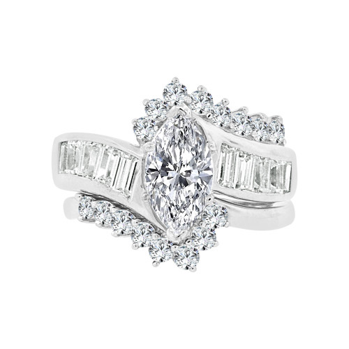 14k White Gold, Lady's Fancy 2 Piece Set Engagement Ring Marquise Shape Cubic Zirconia 1.5ct (R097-072)