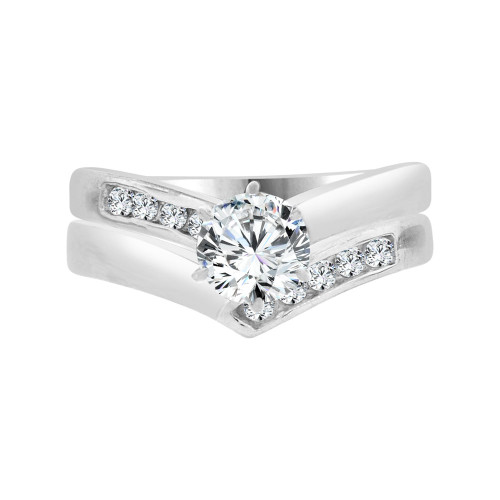 14k White Gold, Lady's  2 Piece Set Engagement Ring Round Cubic Zirconia 0.65ct (R097-073)