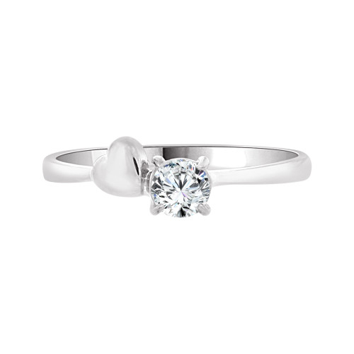 14k White Gold, Dainty Heart Solitaire Design Thin Dainty Ring Round Created Gem 4mm 0.25ct (R097-074)