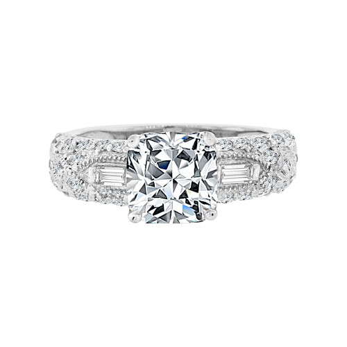 14k White Gold, Lady's Fancy Engagement Ring Cushion Cut Cubic Zirconia 8mm 2.0ct (R097-076)