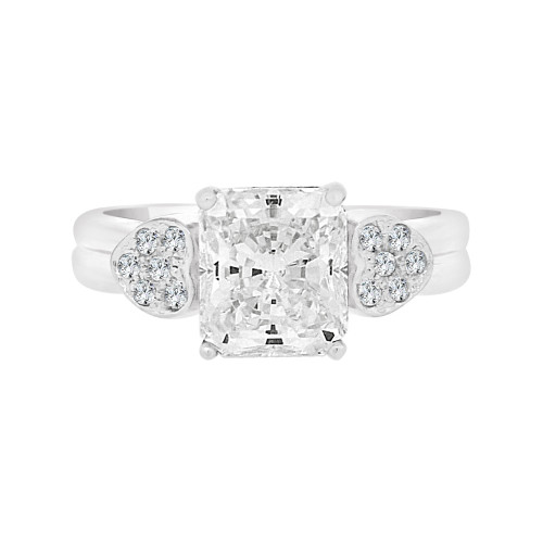 14k White Gold, Lady's Fancy Heart Design Engagement Ring Cushion Cut Cubic Zirconia 8mm 2.0ct (R097-077)