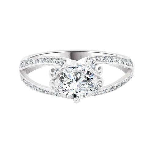 14k White Gold, Fancy Dainty Engagement Wedding Thin Ring Round Cubic Zirconia 1.0ct (R097-078)