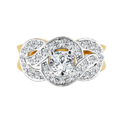 14k Yellow Gold, Fancy Lady' Wavy Style Engagement Wedding Ring Cubic Zirconia 0.65ct (R098-011)