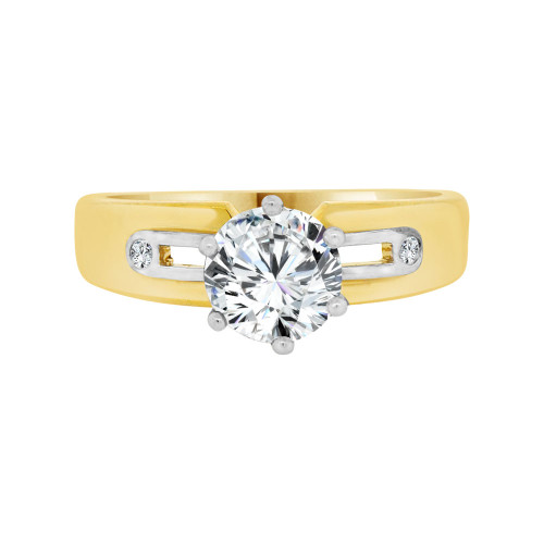 14k Yellow and White Gold, Lady's Solitaire Engagement Ring Cubic Zirconia 1.0ct (R098-014)