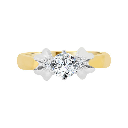 14k Yellow Gold White Rhodium, Solitaire Style Lady's Engagement Wedding Ring Cubic Zirconia 0.75ct (R098-021)
