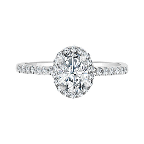 14k White Gold, Lady Engagement Wedding Ring Oval Center Cubic Zirconia 5mm 0.75ct (R098-052)