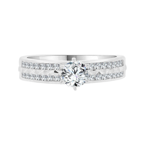 14k White Gold, Lady's 2 Row Channel Set Engagement Ring Cubic Zirconia 0.50ct (R098-053)