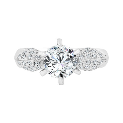 14k White Gold, Lady's Modern Design Pave Set Engagement Ring Cubic Zirconia 1.25ct (R098-055)
