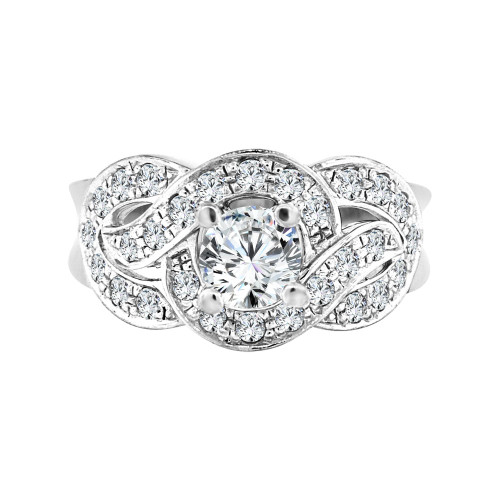 14k White Gold, Fancy Lady's Engagement Anniversary Ring Cubic Zirconia 0.65ct (R098-061)
