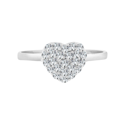 14k White Gold, Classic Simple Dainty Heart Design Ring Cubic Zirconia (R098-063)