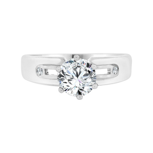 14k White Gold, Lady's Solitaire Engagement Ring Cubic Zirconia 1.0ct (R098-064)