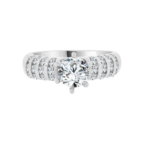 14k White Gold, Lady's Modern Design Engagement Ring Cubic Zirconia 0.75ct (R098-065)