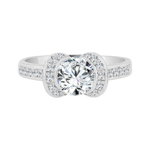14k White Gold, Lady's Fancy Engagement Ring Round Cubic Zirconia 1.0ct (R098-067)