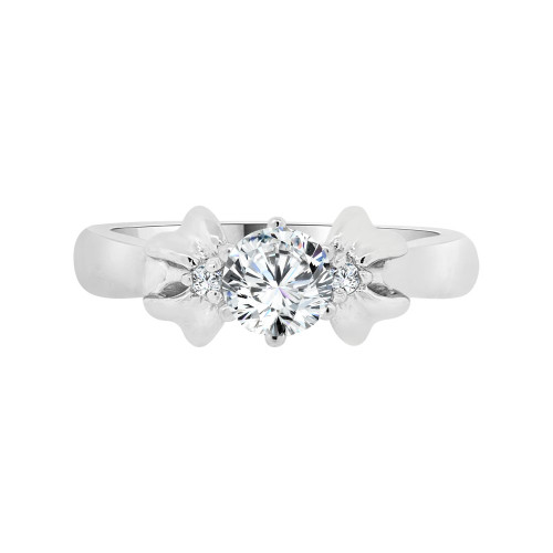 14k White Gold, Solitaire Style Lady's Engagement Ring Cubic Zirconia 0.75ct (R098-071)