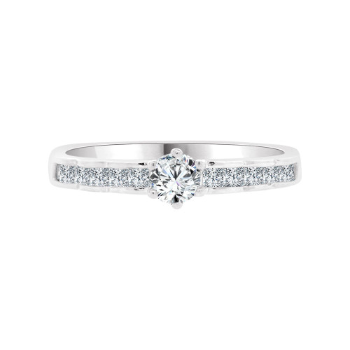 14k White Gold, Dainty Engagement and Fashion Ring Cubic Zirconia 0.25ct (R098-072)