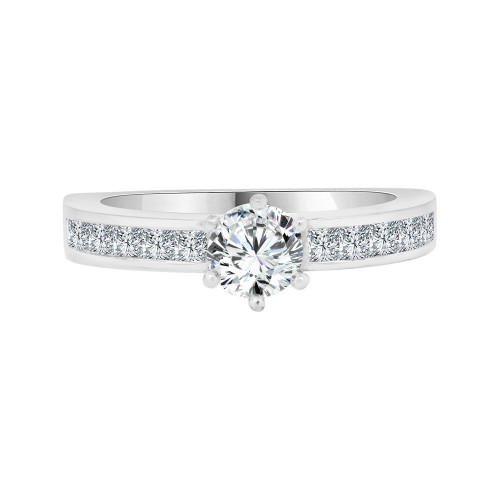 14k White Gold, Modern Design Lady's Engagement Ring Cubic Zirconia 0.75ct (R098-074)