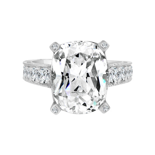 14k White Gold, Fancy Lady's Dressy Cocktail Ring Cubic Zirconia 6.0ct (R098-076)