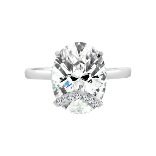 14k White Gold, Fancy Lady's Dressy Cocktail Ring Cubic Zirconia 6.0ct (R098-077)