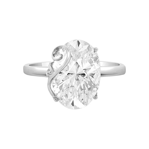 14k White Gold, Fancy Lady's Dressy Cocktail Ring Cubic Zirconia 6.0ct (R098-078)