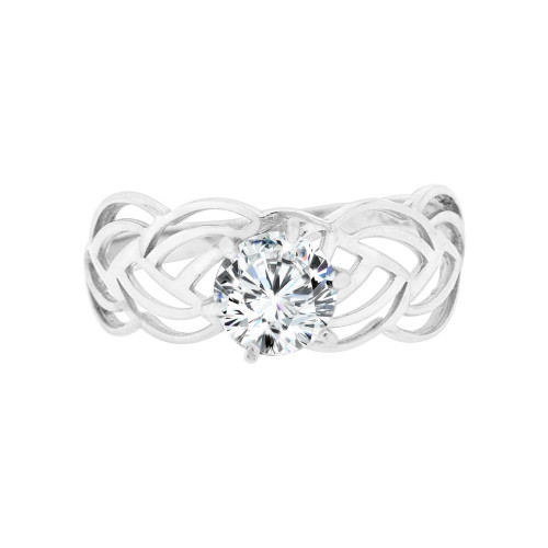 14k White Gold, Filigree Style Engagement Thin Ring Round Cubic Zirconia 1.0ct (R098-080)