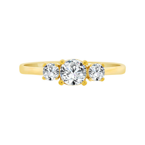 14k Yellow Gold, Dainty 3 Stones Anniversary Engagement  Promise Ring Round Cubic Zirconia 0.35ct (R099-009)
