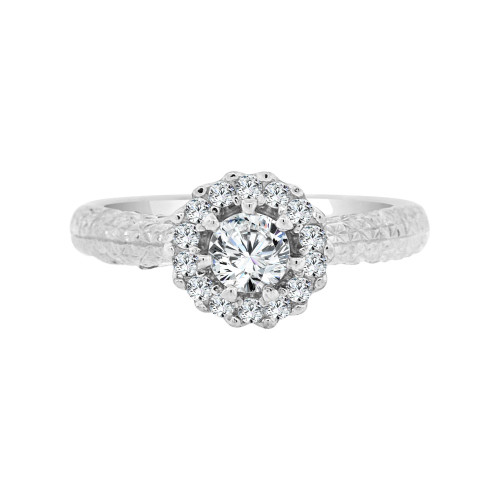 14k White Gold, Lady's Fancy Engagement Ring Round Cubic Zirconia 0.75ct (R099-056)