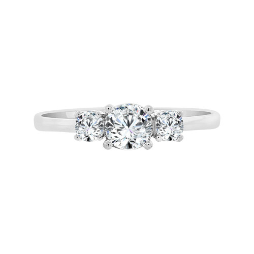 14k White Gold, Dainty 3 Stones Anniversary Engagement  Promise Ring Round Cubic Zirconia 0.35ct (R099-059)