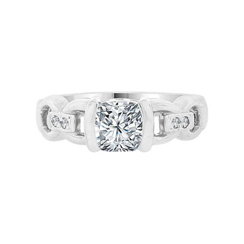14k White Gold, Fancy Anniversary Engagement Ring Princess Cut Cubic Zirconia 1.0ct (R099-063)