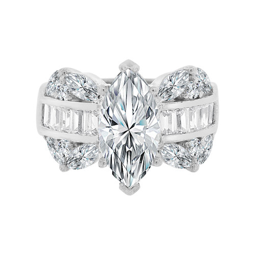 14k White Gold, Fancy Lady's Dressy Cocktail Ring with Cubic Zirconia 3.0ct (R099-067)