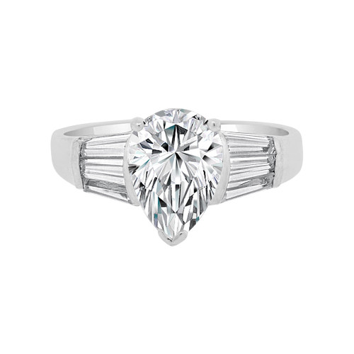 14k White Gold, Simple Engagement Anniversary Ring Pear Shape Center Cubic Zirconia 1.75ct (R099-068)