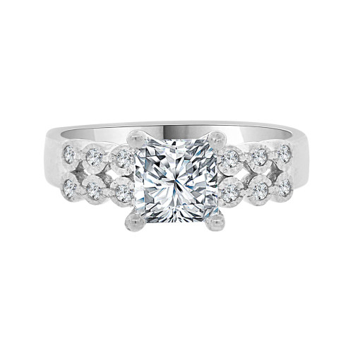 14k White Gold, Lady Engagement Wedding Ring Princess Center Cubic Zirconia 6mm 1.0ct (R099-075)
