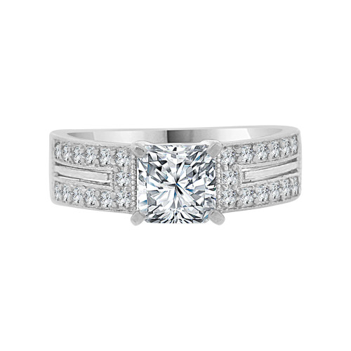 14k White Gold, Lady Engagement Wedding Ring Princess Center Cubic Zirconia 6mm 1.0ct (R099-077)